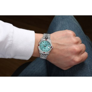 Rolex 31mm Datejust with custom Blue Flower Diamond Dial+ Rubies on a Bezel+Diamond Lugs 68274