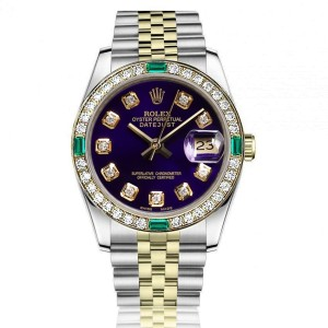 Ladies Rolex 26mm  Two Tone Purple Diamond Dial Vintage Diamond Bezel with Emeralds 69173