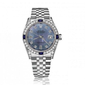 Rolex 36mm Datejust Tahitian Mother of Pearl Diamond Dial 8+2 Bezel with Sapphires and  Diamond Lugs 16014