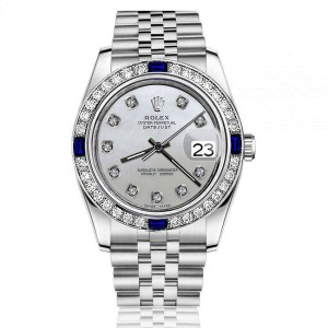 Rolex White Pearl 26mm Datejust SS Diamond & Sapphire Bezel