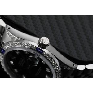 Rolex 36mm Datejust Black RT Diamond Dial Bezel with Sapphires and  Diamond Lugs 16014