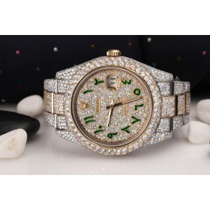 Rolex Datejust 41 126303 Custom Green Arabic Script Dial Stainless Steel and 18k Yellow Gold Fully Iced Out Watch
