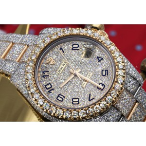 Rolex Datejust 41 126303 Blue Arabic Numerals Stainless Steel and 18k Yellow Gold Fully Iced Out Custom Watch