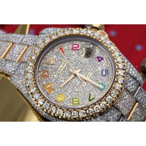 Rolex Datejust 41 126303 Rainbow Arabic Numerals Stainless Steel and 18k Yellow Gold Fully Iced Out Custom Watch