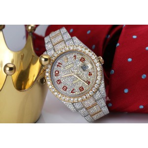 Rolex Datejust 41 126303 Red Arabic Numerals Stainless Steel and 18k Yellow Gold Fully Iced Out Custom Watch