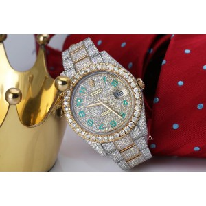 Rolex Datejust 41 126303 Turquoise Arabic Numerals Stainless Steel and 18k Yellow Gold Fully Iced Out Custom Watch