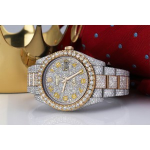 Rolex Datejust 41 126303 Yellow Arabic Numerals Stainless Steel and 18k Yellow Gold Fully Iced Out Custom Watch