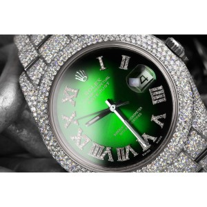 Rolex Mens Datejust II 41mm 116300 Stainless Steel Green Vignette Roman Diamond Dial Fully Iced Out Watch