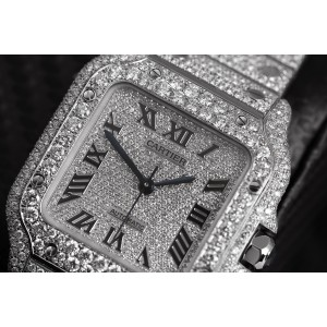 Cartier Santos De Cartier Large Model WSSA0018 Custom Diamond Stainless Steel Watch Pave Black Roman Numeral Dial