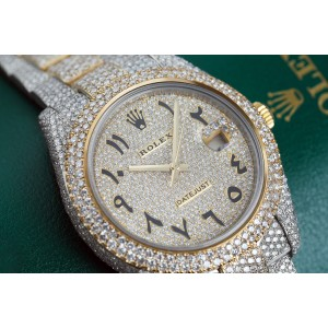 Rolex Datejust 41 Stainless Steel and 18k Yellow Gold Custom Fully Iced Out Watch Arabic Script Dial