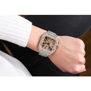 Cartier Santos De Cartier Skeleton Custom Diamond Two Tone Yellow Watch WHSA0019