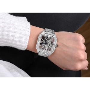 Cartier Santos De Cartier Skeleton Custom Diamond Stainless Steel Watch WHSA0007