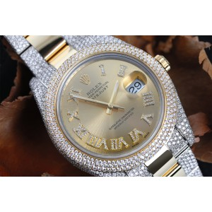 Rolex Datejust 41 Stainless Steel and 18k Yellow Gold Custom Diamond Watch Champagne Diamond Dial with Roman Numerals