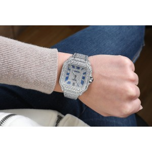 Cartier Santos De Cartier Large Model WSSA0018 Custom Diamond Stainless Steel Watch Pave Blue Roman Numeral Dial