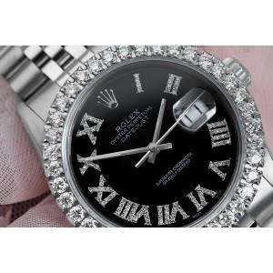 Rolex 36mm Datejust Custom Diamond Bezel, Black Diamond Roman Dial 16014