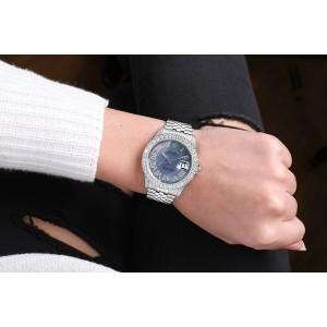 Rolex 36mm Datejust Custom Diamond Bezel, Tahitian MOP Diamond Roman Dial 16014