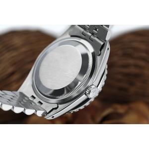 Rolex 36mm Datejust Custom Diamond Bezel, White Diamond Roman Dial 16014