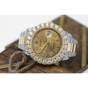 Rolex Datejust 41 Stainless Steel and 18k Yellow Gold Custom Diamond Watch Champagne Jubilee Dial