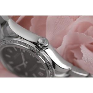 Rolex Datejust 31mm Oyster Perpetual Black Dial Oyster Bracelet & Custom Diamond Bezel 177200