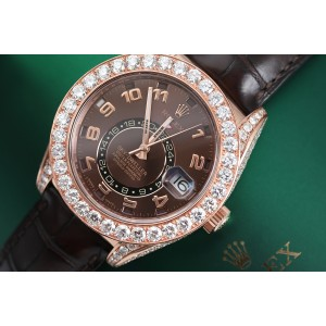 Rolex Sky Dweller 18Kt Rose Gold Custom Diamond Watch with Chocolate Arabic Dial Brown Leather Strap 326135