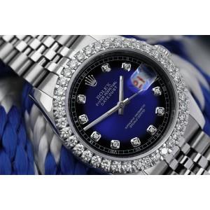 Rolex 36mm Datejust New Style Custom Diamond Bezel, Blue Vignette Diamond Dial Jubilee 116234