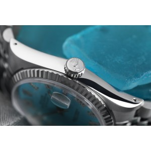 Rolex 36mm Datejust Stainless Steel Ice Blue Dial Diamond Roman Numerals Jubilee Band 16014