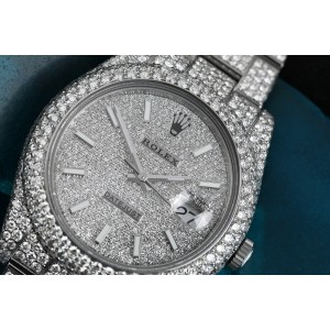 Rolex Mens Datejust II 41mm 116300 Stainless Steel White Index Pave Diamond Dial Fully Iced Out Watch