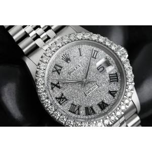 Rolex 36mm Datejust Custom Diamond Bezel, Pave Roman Numerals Dial 16014