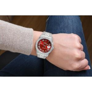 Rolex 36mm Datejust Custom Diamond Bezel, Red Diamond Roman Dial 16014