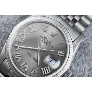 Rolex 36mm Datejust Stainless Steel Silver Dial Diamond Roman Numerals Jubilee Band 16014