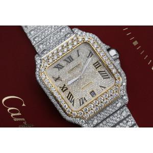 Cartier Santos De Cartier WSSA0018 Custom Diamond Stainless Steel and Yellow Gold Watch Pave Black Roman Numeral Dial