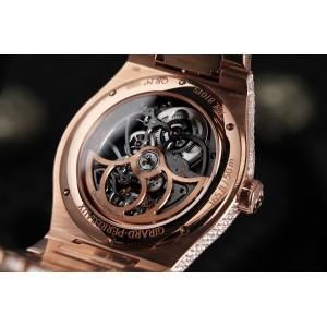 Girard-Perregaux Laureato Custom Full Diamond Rose Gold Skeleton Watch