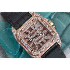 Cartier Santos 100 Rose Gold 33mm Custom Diamond Watch Brown Leather Strap #2879