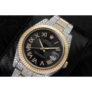 Rolex Datejust 41 Two Tone Yellow Custom Diamond Watch Fluted Bezel Dark Grey Diamond Roman Numbers Dial
