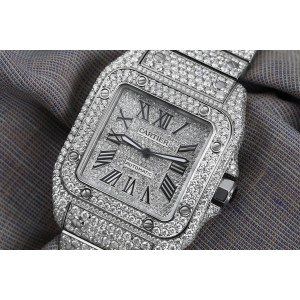 Cartier Santos 100 Stainless Steel Watch Customized with Genuine Diamonds W20073X8