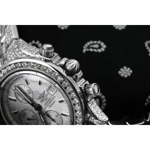 Breitling Chronomat Evolution A13356 Custom Diamond Stainless Steel Watch White Dial