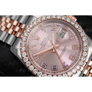 Rolex Datejust 36mm Two Tone Rose Watch Jubilee Band Custom Diamond Bezel Pink Dial