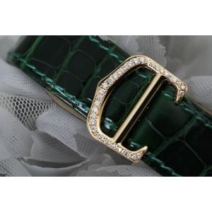 Cartier Roadster Custom Diamond Yellow Gold Ladies Watch W62018Y5 Green Leather Strap