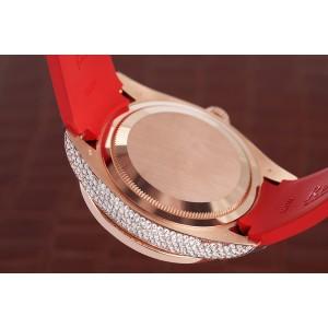 Rolex Sky Dweller Custom Diamond Watch 18Kt Rose Gold  with Chocolate Arabic Dial Rubber Strap