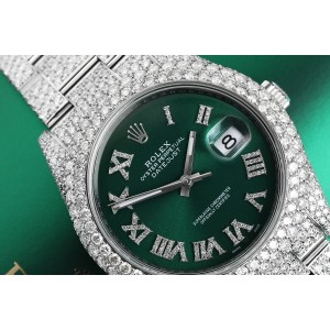 Rolex Mens Datejust II 41mm  Stainless Steel Green Roman Diamond Dial Custom Fully Iced Out Watch
