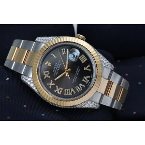 Rolex Datejust 41 Stainless Steel and 18k Yellow Gold Watch Custom Grey Roman Diamond Dial and Diamond Case