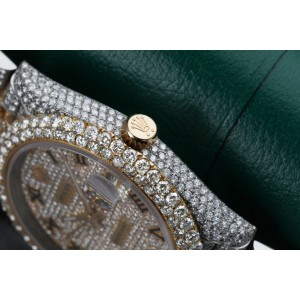 Rolex Custom Diamond Datejust 41mm 126303 Pave Dial Yellow Gold and Stainless Steel  Watch