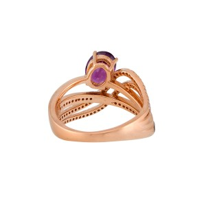 14k Rose Gold Rhodolite Ring
