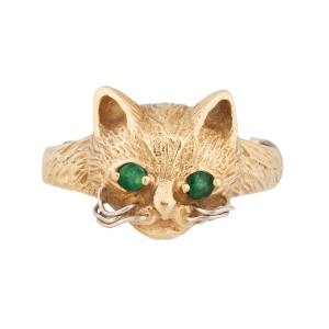 14K Yellow Gold and Emeralds Cat Ring Size 4.5