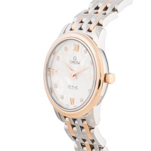 Omega De Ville Prestige 42420276052002 Stainless Steel and 18K Rose Gold Silver Diamond Dial 27.4mm Womens Watch
