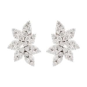 14K White Gold Diamond Cluster Non - Pierced Screwback Earrings