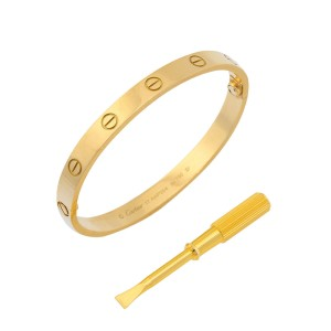 79861e8e26330 Cartier Love Bracelet 18K Yellow Gold Size 17