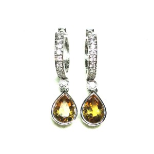 14K White Gold Citrine and Diamond Drop Earrings