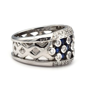 Sapphire And White Diamond Ring In 14 Karat White Gold Ring Size 7