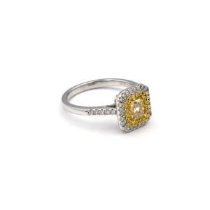 0.97 Carat Radiant Natural Yellow Diamond Ring In 18 Karat White Gold Ring Size 6.5